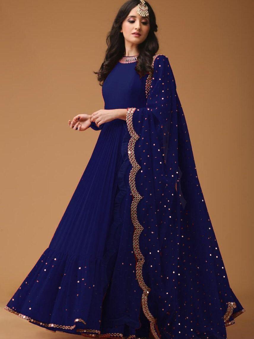 Siya Siyafashion Attractive Blue Embroidered Partywear Designer Anarkali Suit Indian Gowns Dresses Pakistani Dress Design Indian Designer Outfits,Miami Wedding Dress