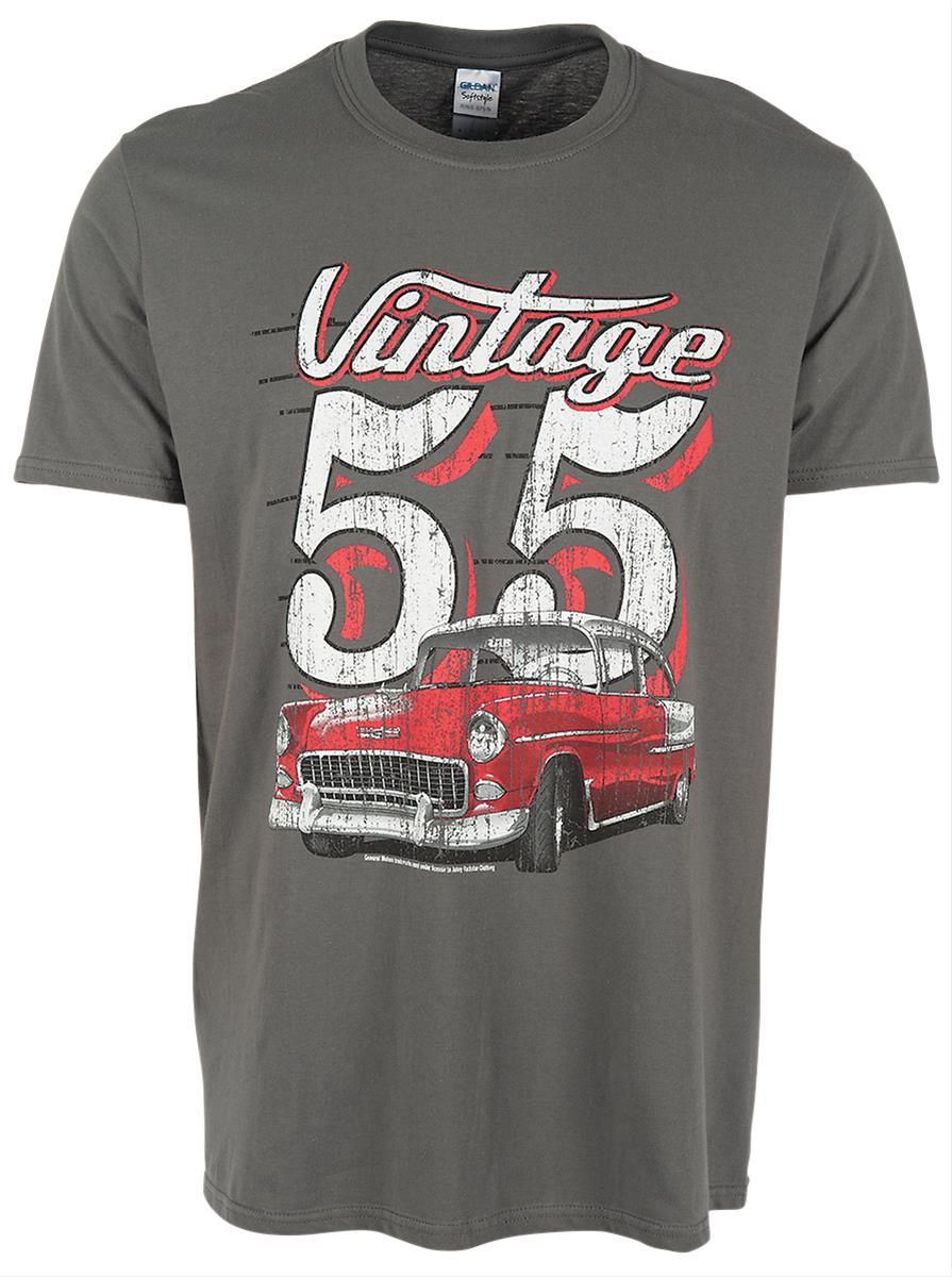 Vintage 1955 chevy t shirt from the old school lettering and classic musclecar to