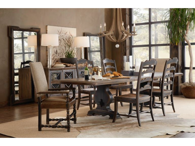 Hill Country 5 Piece Dining Room Set Includes Trestle Table 4 Ladder Back Side Ch Rectangle Dining Room Set Dinning Room Lighting Dinning Room Light Fixture