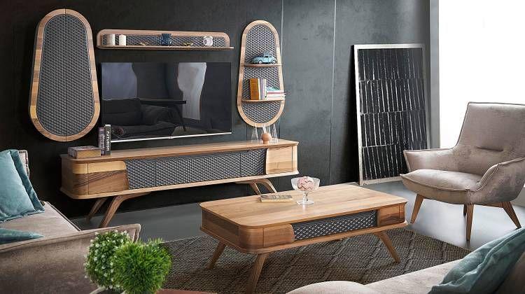 atlantik ahsap tv unitesi fume living room spaces wall tv unit design furniture design modern