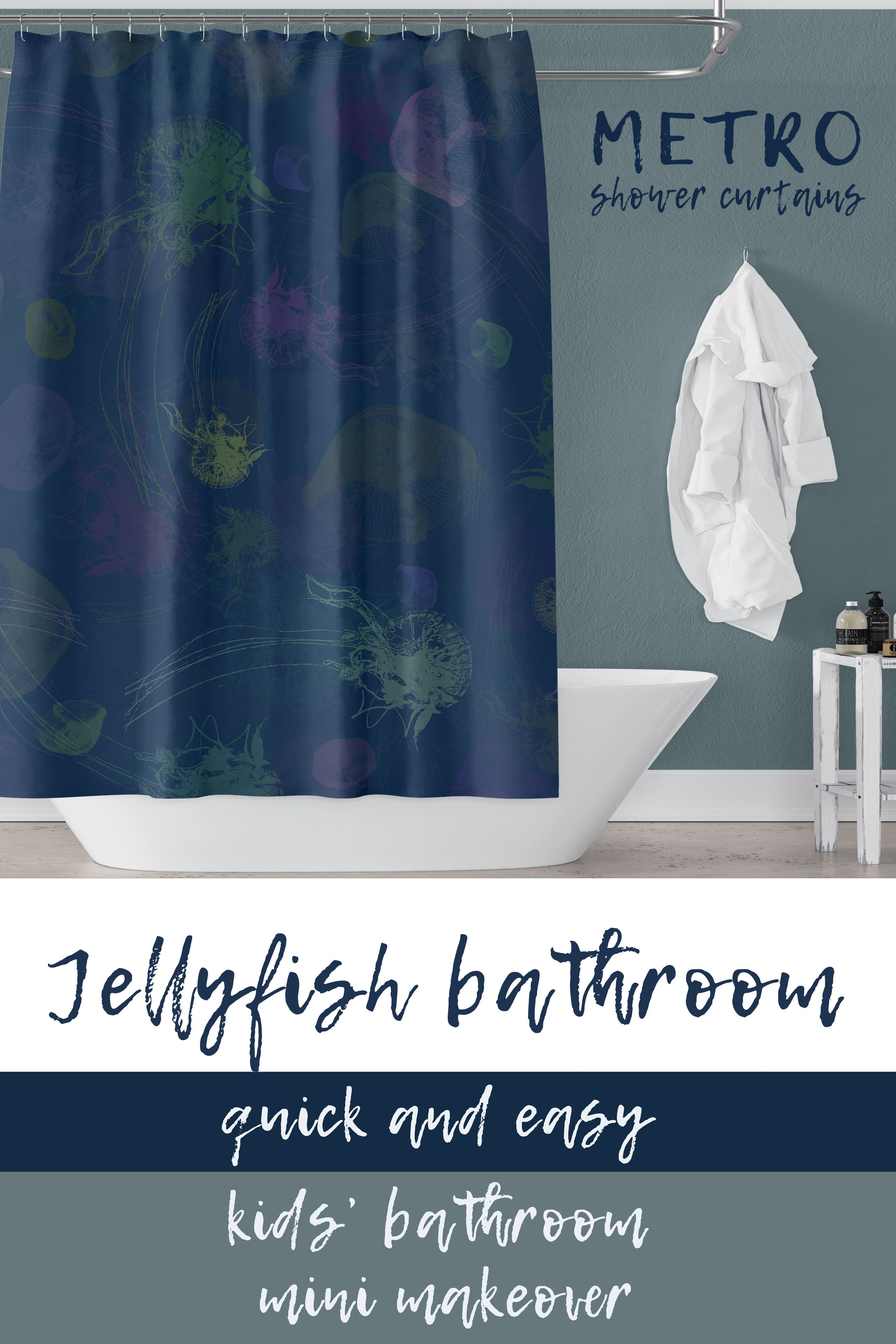 Jellyfish Print Shower Curtain Blue With Green And Purple Art