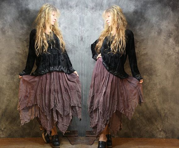 Vintage Bohemian Witchy Dress Skirt Embroidered by MajikHorse
