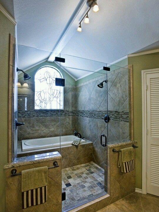 Bath In Shower Double Shower Head Bathroom Oh My Love The Idea