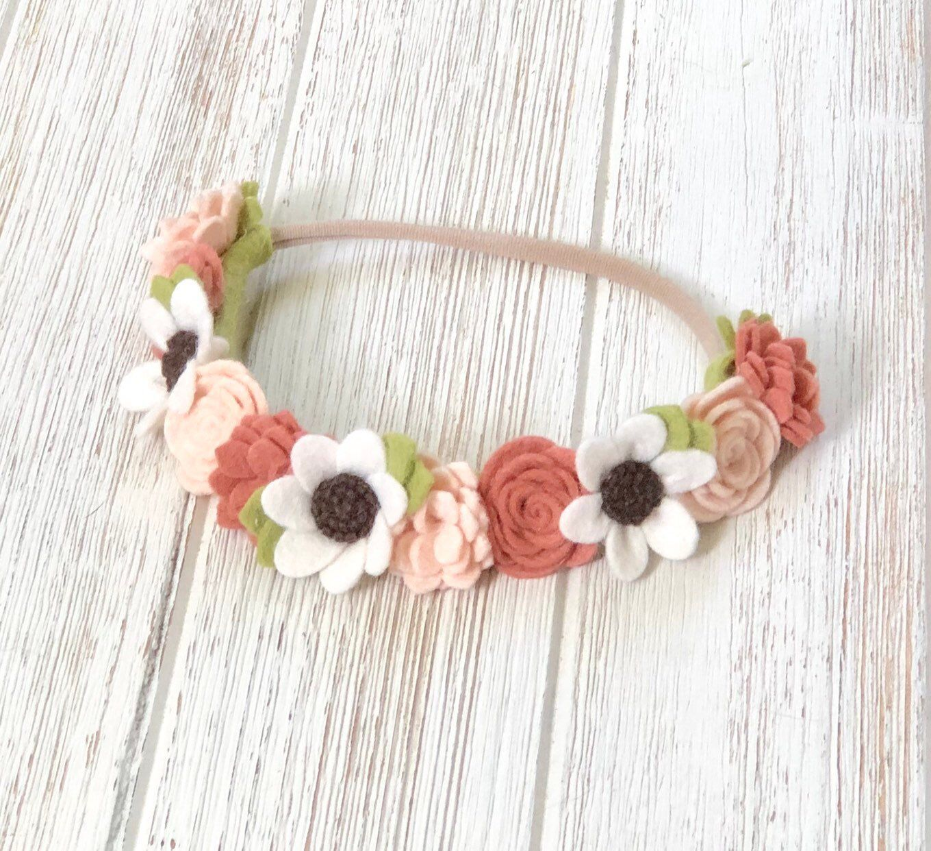 Felt flower headband, felt flower crown, baby girl headband, pink flower headband, blush floal crown, newborn headband, baby photo prop #feltflowerheadbands