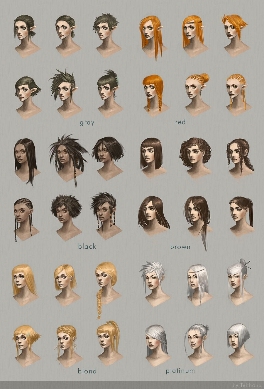 Hairstyle concept art by telthona elf human satyr chart | Create ...
