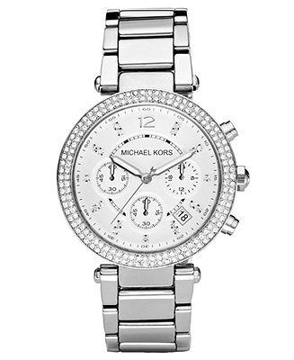 8a2e3a7e6131 Michael Kors Women s Chronograph Parker Stainless Steel Bracelet ...