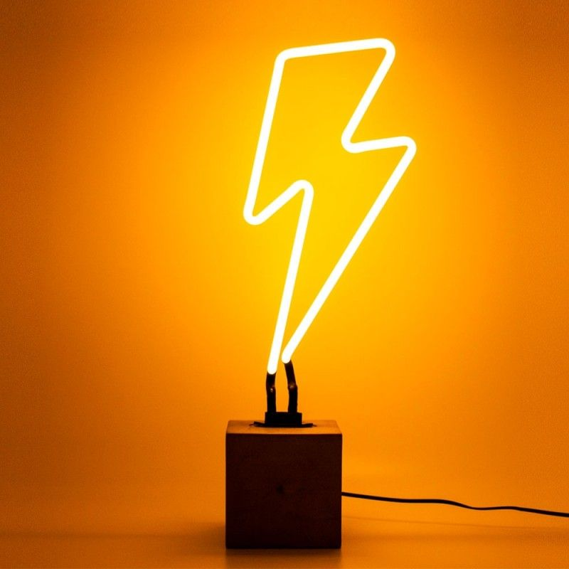 Neon Lightning Bolt Table Lamp Sign - Yellow