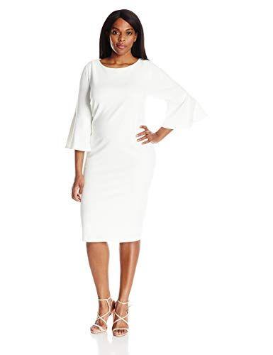 Calvin Klein Womens Plus Size 34 Peplum Sleeve Sheath Dress White