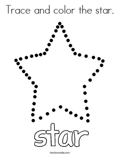 Trace and color the star Coloring Page Twisty Noodle Shape