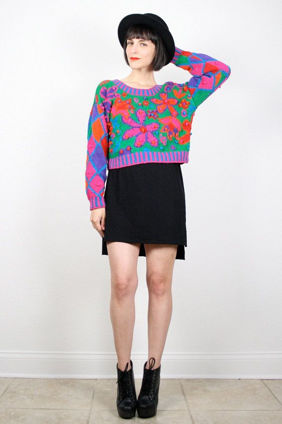 Vintage 90s Sweater Grunge Sweater Crop Top Cropped Sweater Crop ...