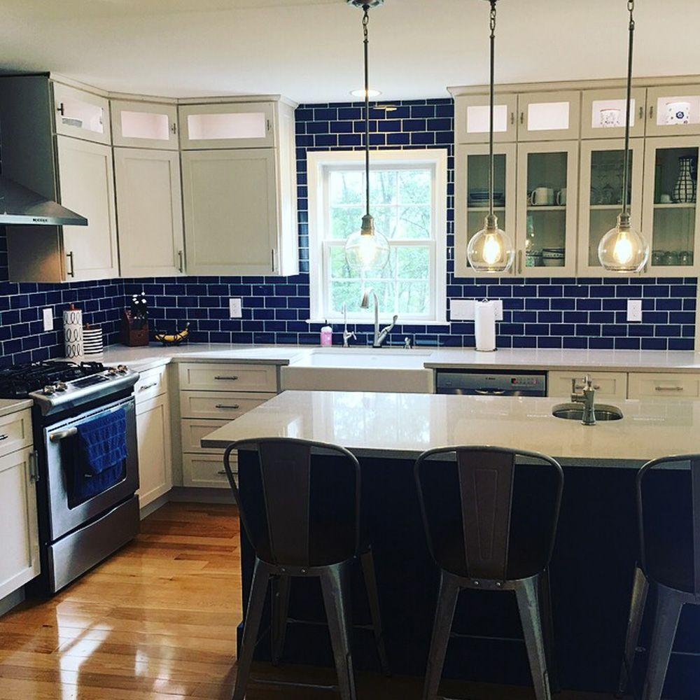 - Cobalt Glass Subway Tile Modern Kitchen, Kitchen Design