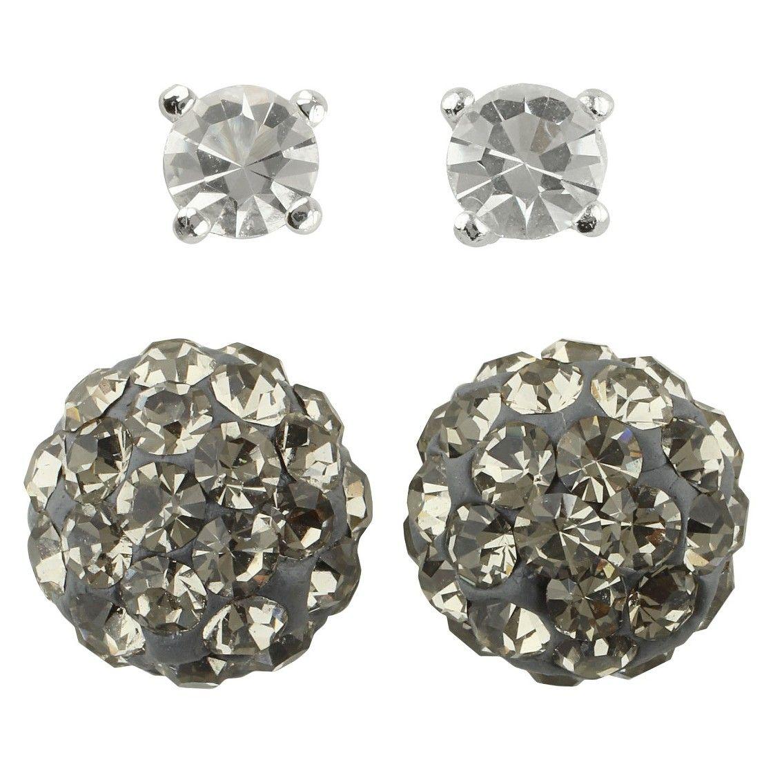 ece568af56fb38 Women's Button Earrings Set of 2 with Crystal Ball and Crystal Fireball -  Silver/Clear/Black