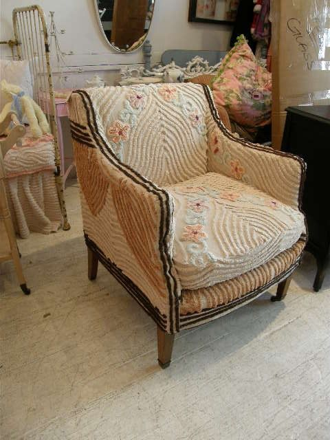 Mocha Upholstered Chair With Vintage