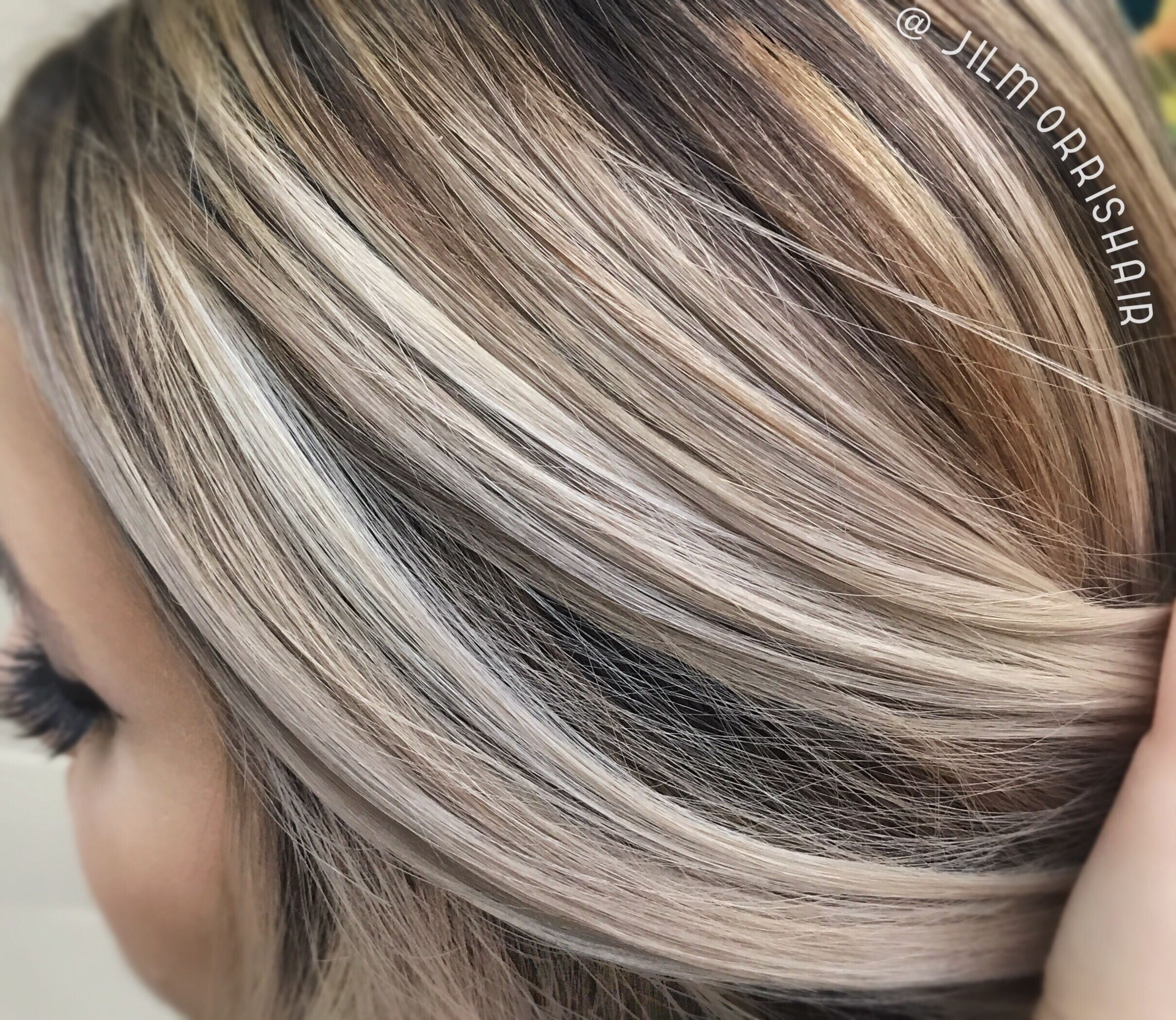 Cool Ashy Blonde Balayage Highlights With Neutral Shadow Root Brown Blonde Hair Brown Hair