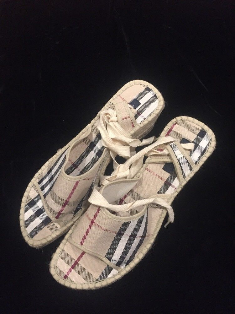 b0c43af8321e BURBERRY Nova Check Pattern Fabric Ankle Strap Lace Up Sandals Wedges Sz 40  NWOT  Burberry  PlatformsWedges  Casual
