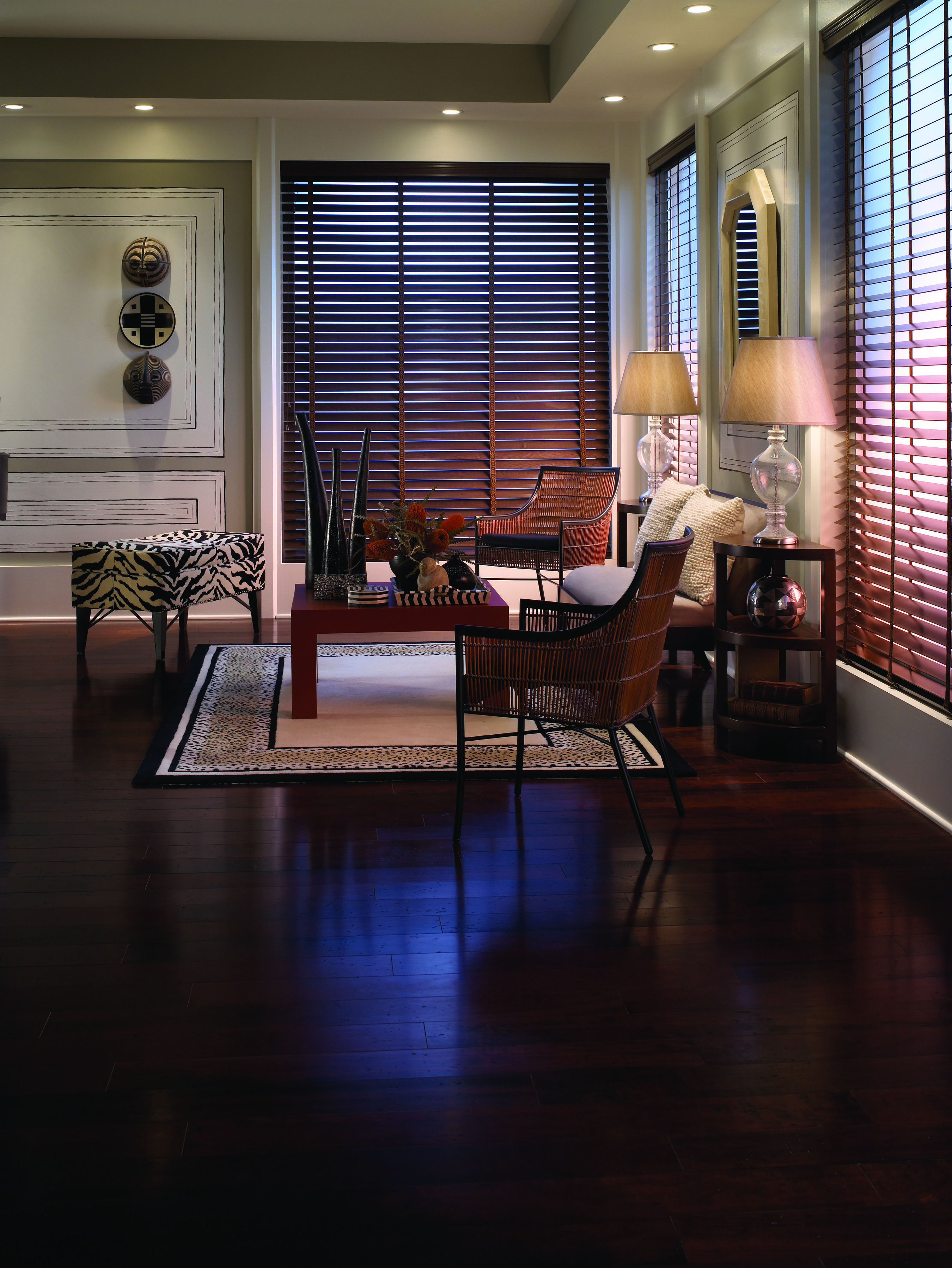 Sophisticated And Elegant Style With Custom Wood Blinds In