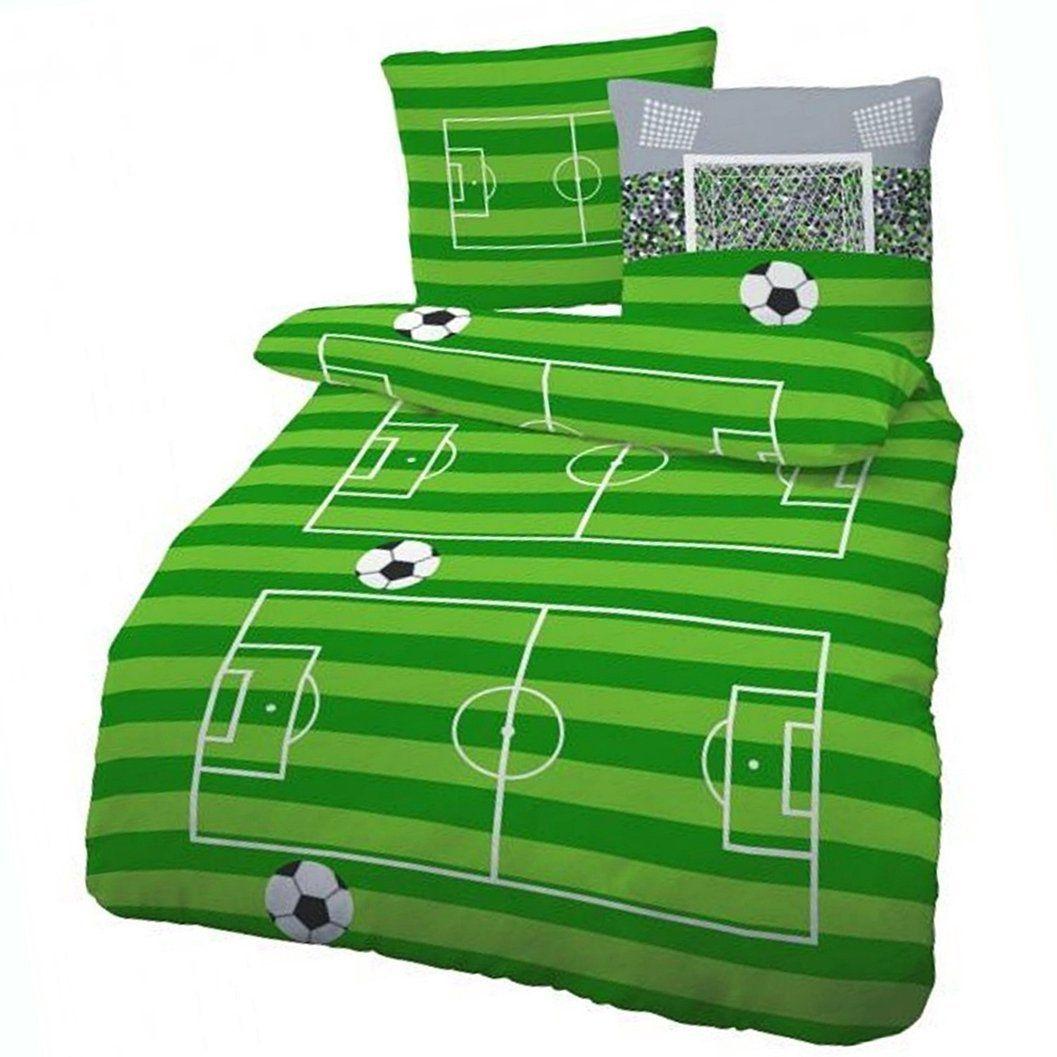 Biber Bettwäsche Fußball Spielfeld Grün 135x200 Cm