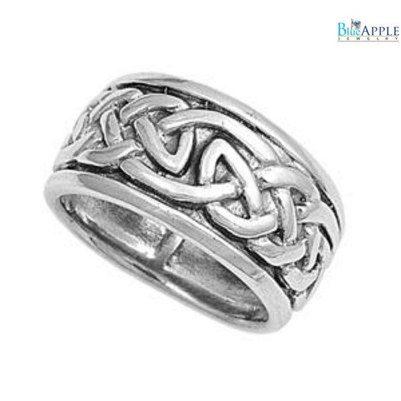 Celtic Knot Design Oxidized Band Ring Solid 925 Sterling Silver 10mm Band Men Women Unisex His Hers Wedding Engagement Anniversary Band 5-14