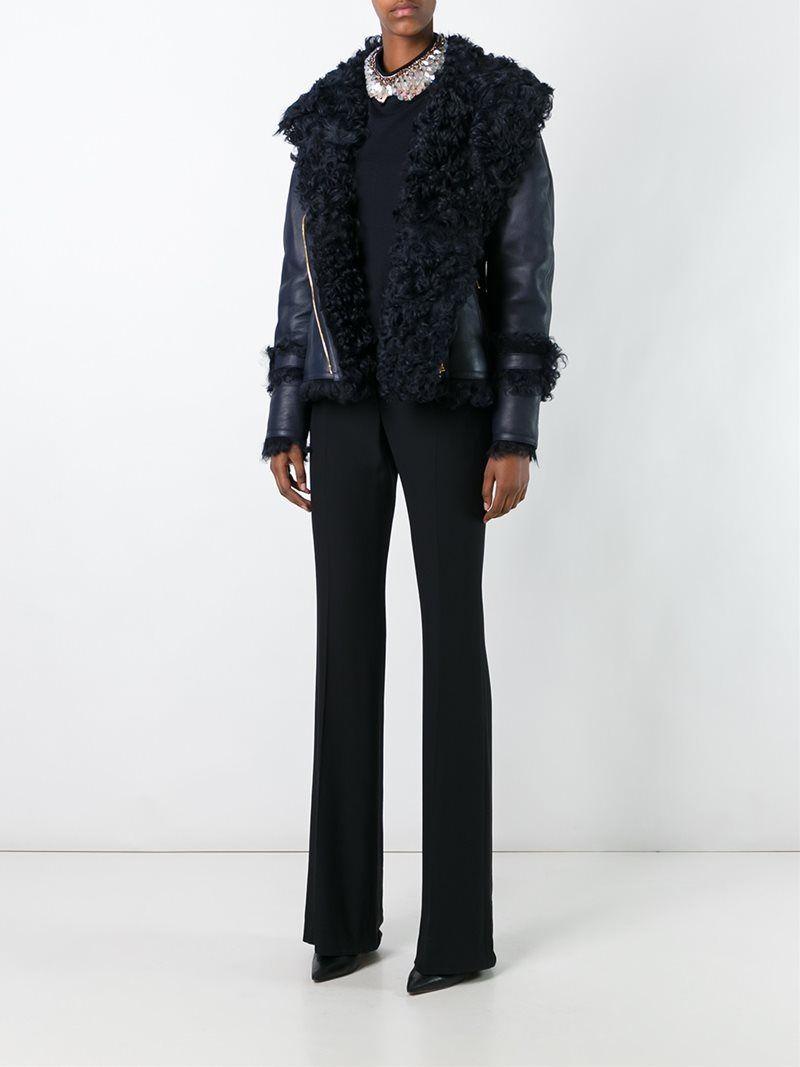 And Ya Lambskin Fur Trim Leather Cómpralo Blue Lanvin Dark Jacket zqA78g8wd