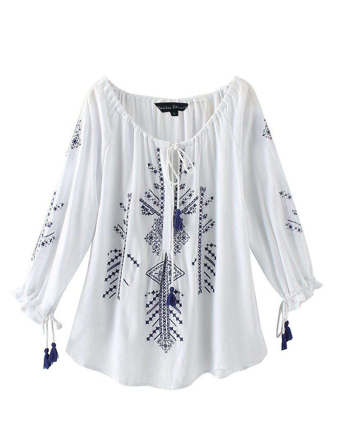 c021f0b5 Mantos Eternity Ladies' Embroidered Peasant Tunic Top Relaxed Fit Blouse at Amazon  Women's Clothing store: