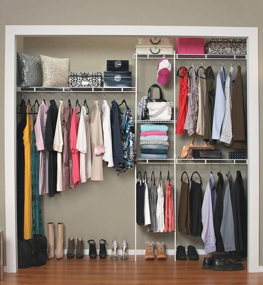 Closet Organizer Clothes Storage Shelves System Kit Shelf Wardrobe Hanger Closeto With Images Clothing Rack Bedroom Clothes Hanger Storage Closet Organizer Kits