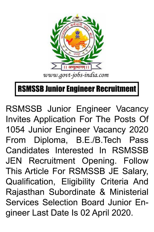 RSMSSB Junior Engineer Recruitment 2020 1054 Junior