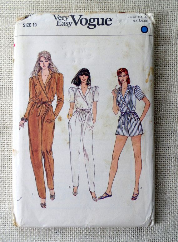 Vintage 1980s sewing pattern Vogue 8216 high waist Jumpsuit straight ...