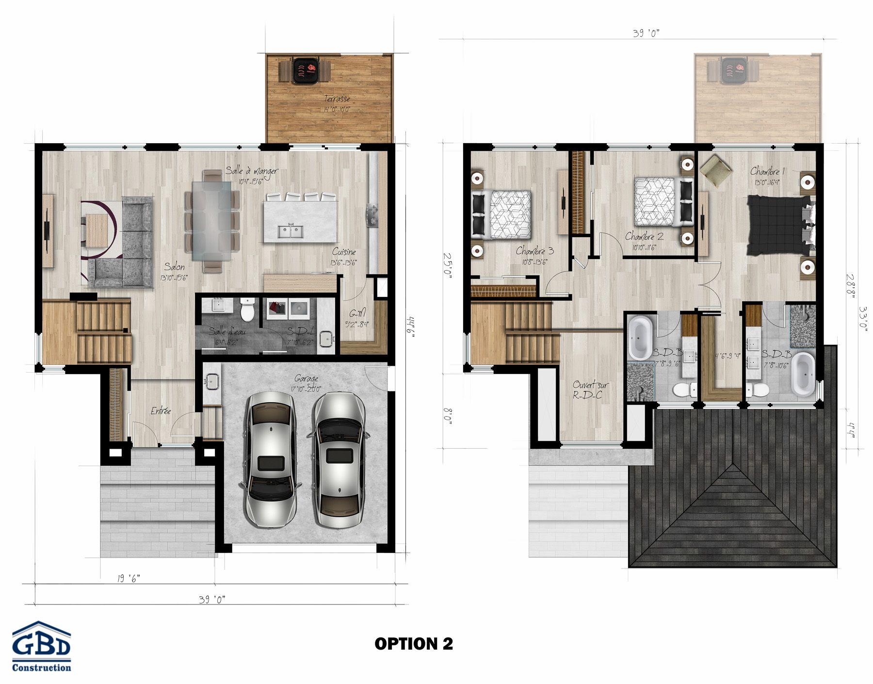 Manhattan Maison Neuve A Deux Etages De Type Cottage Gbd Construction Model House Plan House Plans Small Apartment Building