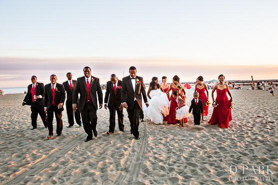 red white crimson wedding party, corona del mar beach wedding ...