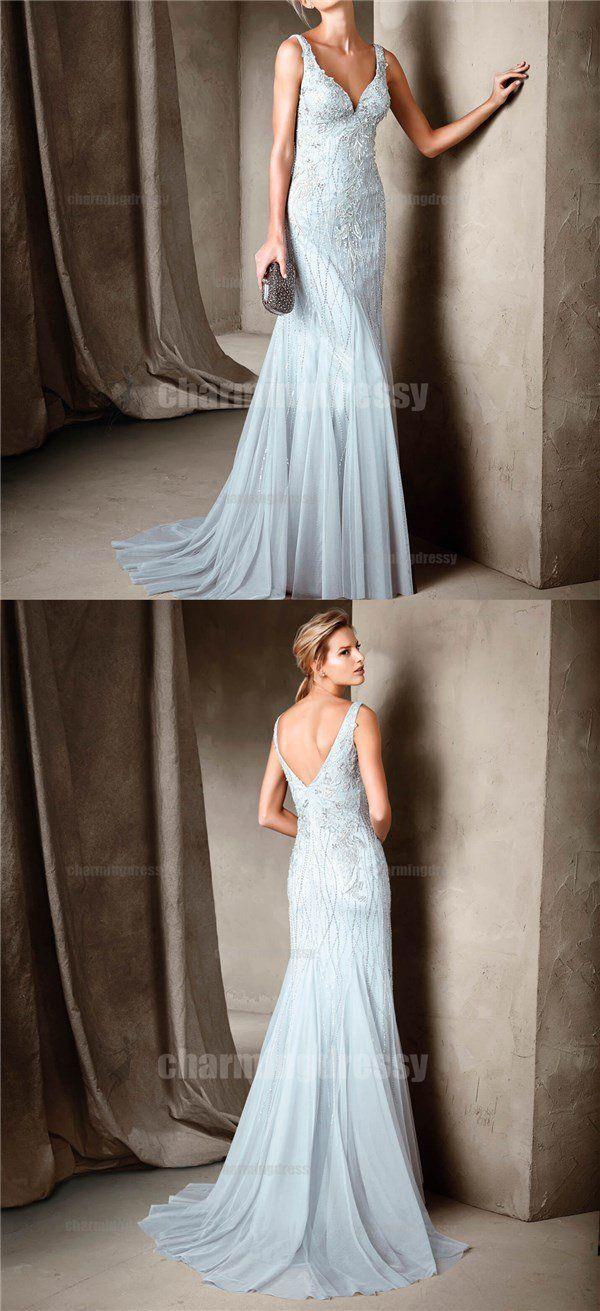 Elegant Charming Light Blue Mermaid Elegant Formal Prom Dresses
