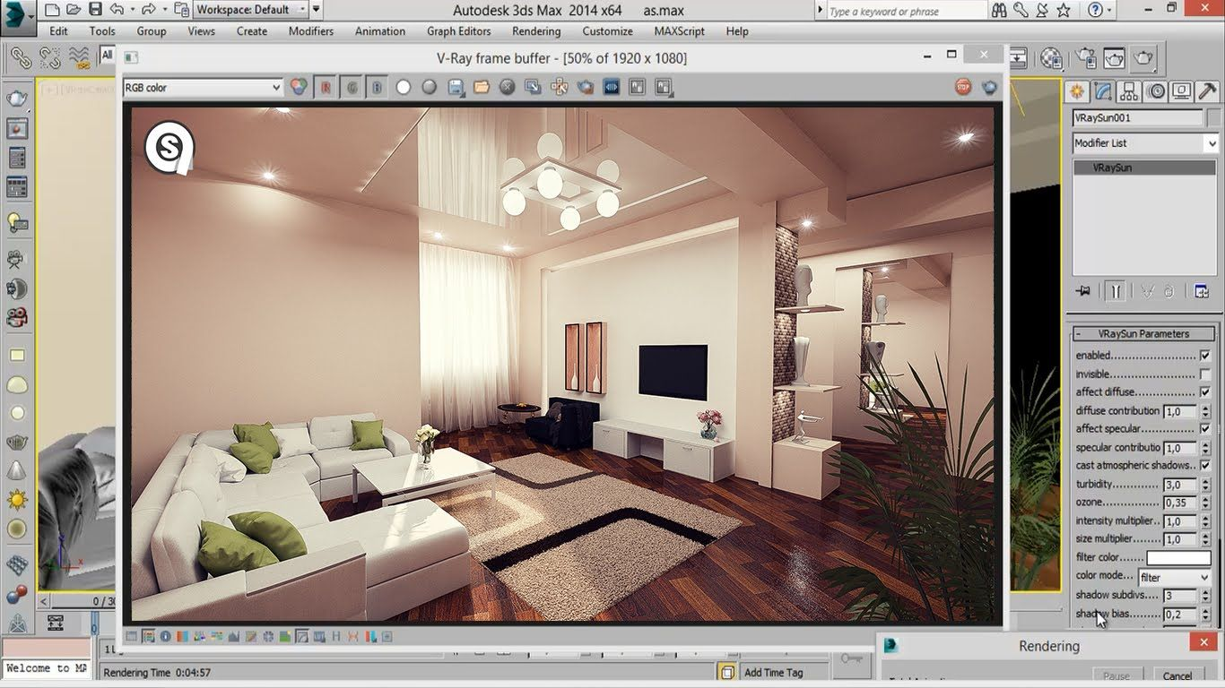 3d max modern interior modeling rendering vray 3 2 for Vray interior lighting rendering tutorial