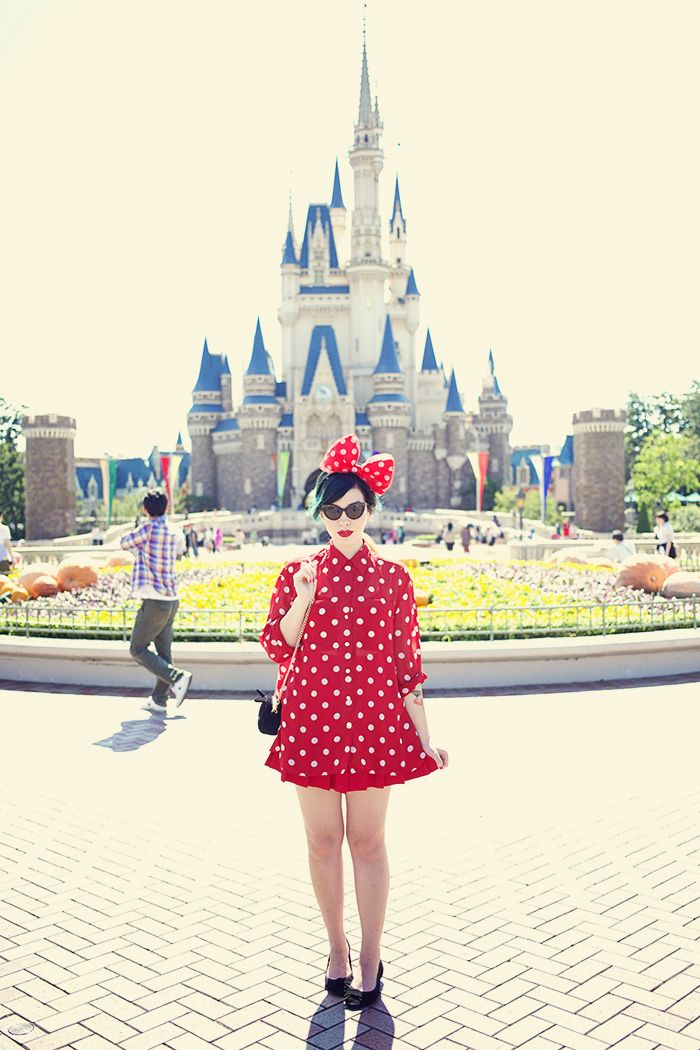 ff810117b53b She looks like Minnie Mouse! What a pretty red polka dot dress and mouse  ears outfit for a day at Tokyo Disneyland.