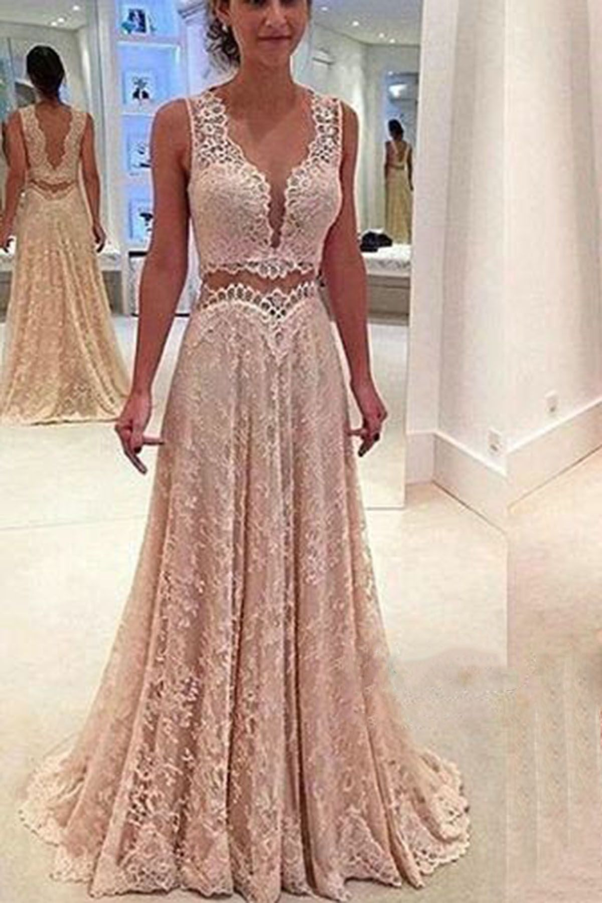 Champagne lace prom dress, ball gown, cute two pieces dress for prom ...