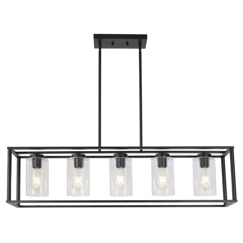 Vinluz Contemporary Modern Chandeliers Rectangle Black 5 Light Dining Room Lighting Fixtures In 2020 Modern Chandelier Dining Room Lighting Dining Room Light Fixtures