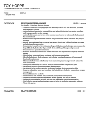 Sample Business Resume Business Systems Analyst Resume Sample  Business