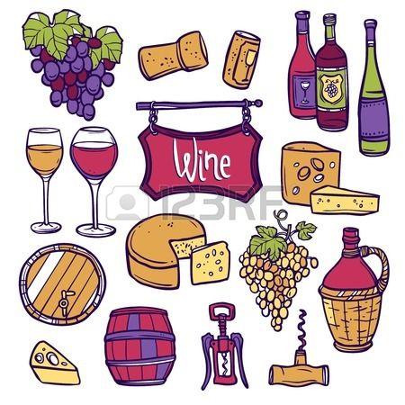 Vino icono decorativo conjunto con uva dibujado a mano vid corcho queso ilustraci n vectorial Foto de archivo