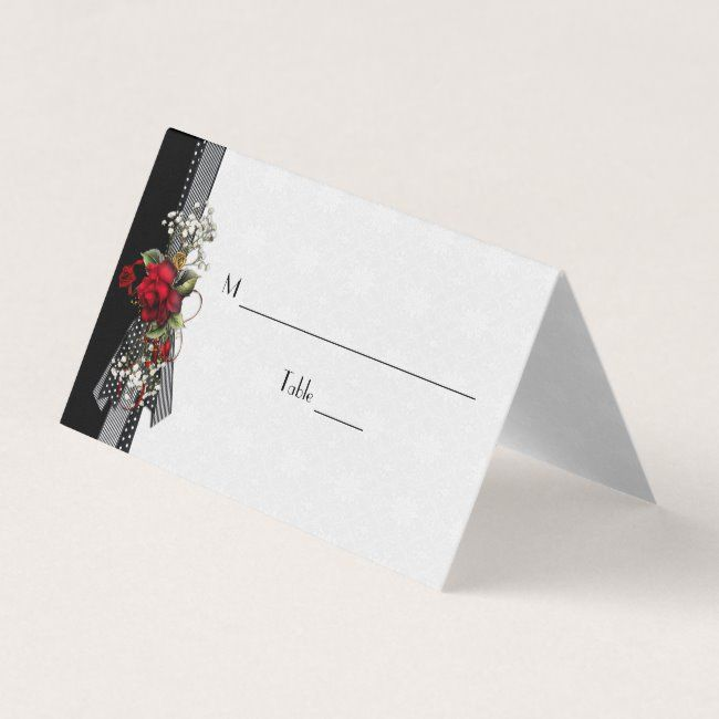 Red Roses Baby's Breath Black Ribbons Place Cards #red #roses #babys #breath #black - Look at these wonderful designs by dmboyce.