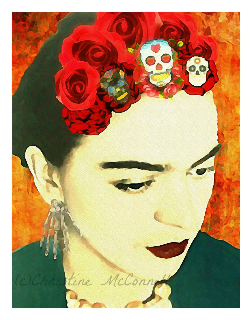 frida kahlo watercolor 5x7 print photomontage original signed mixed media collage modern wall. Black Bedroom Furniture Sets. Home Design Ideas