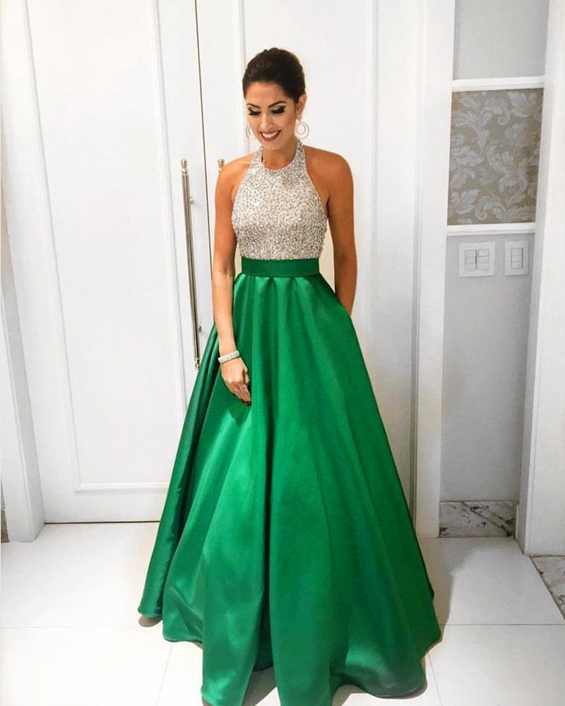 2017 Green Prom Formal Dresses Halter Beaded Wedding Bridesmaid Party Gowns   Clothing, Shoes & Accessories, Wedding & Formal Occasion, Bridesmaids' & Formal Dresses   eBay!