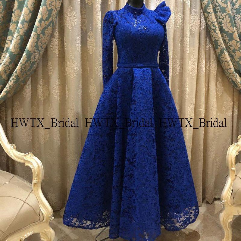 Custom Made Evening Dress Royal Blue Lace High Neck Long Sleeves Elegant A Line Prom Dresses Formal Party Gown Rob Dresses Soiree Dress Evening Dresses Elegant