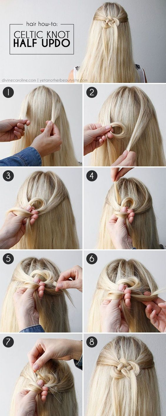 Easy Half Up Half Down Hairstyles Celtic Knot Half Updo Hair Styles Long Hair Styles Half Updo Hairstyles