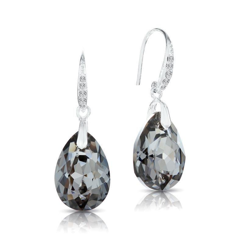 Swarovski Sparkly Black Crystal Teardrop Earrings for Women • Drop