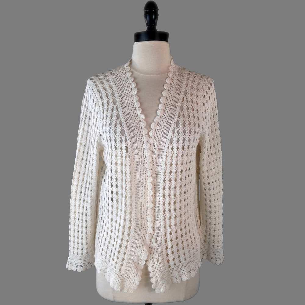 Hand Knit Ralph Lauren Sweater Petite M Cream Cotton Crochet Lace ...