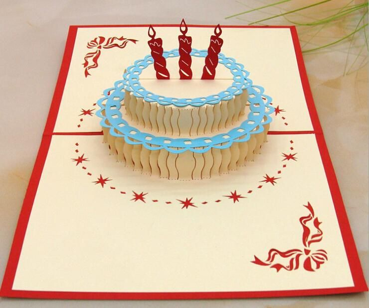 Best Wishes 3d Birthday Greenting Cards Birthday Cake Shape Paper