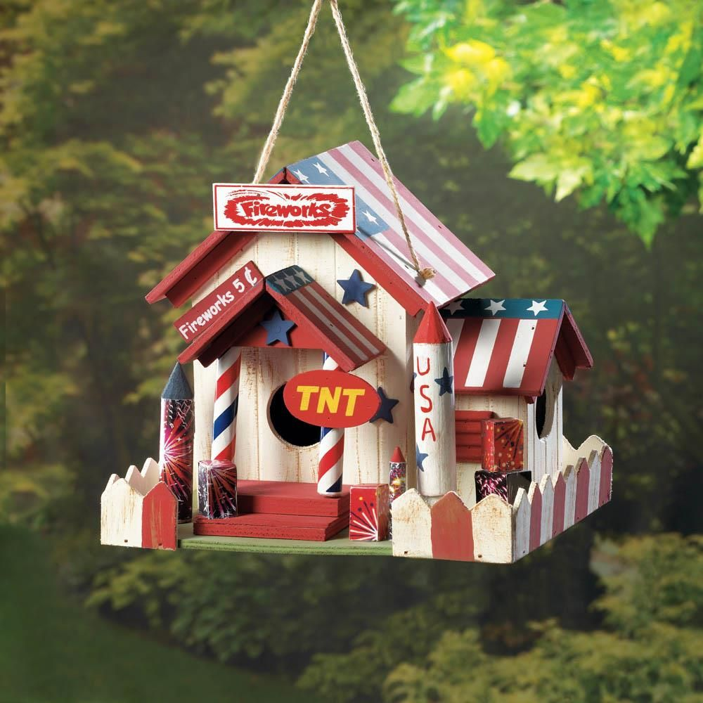 4th Of July Patriotic Birdhouse Bird House Bird Houses Firework Stands