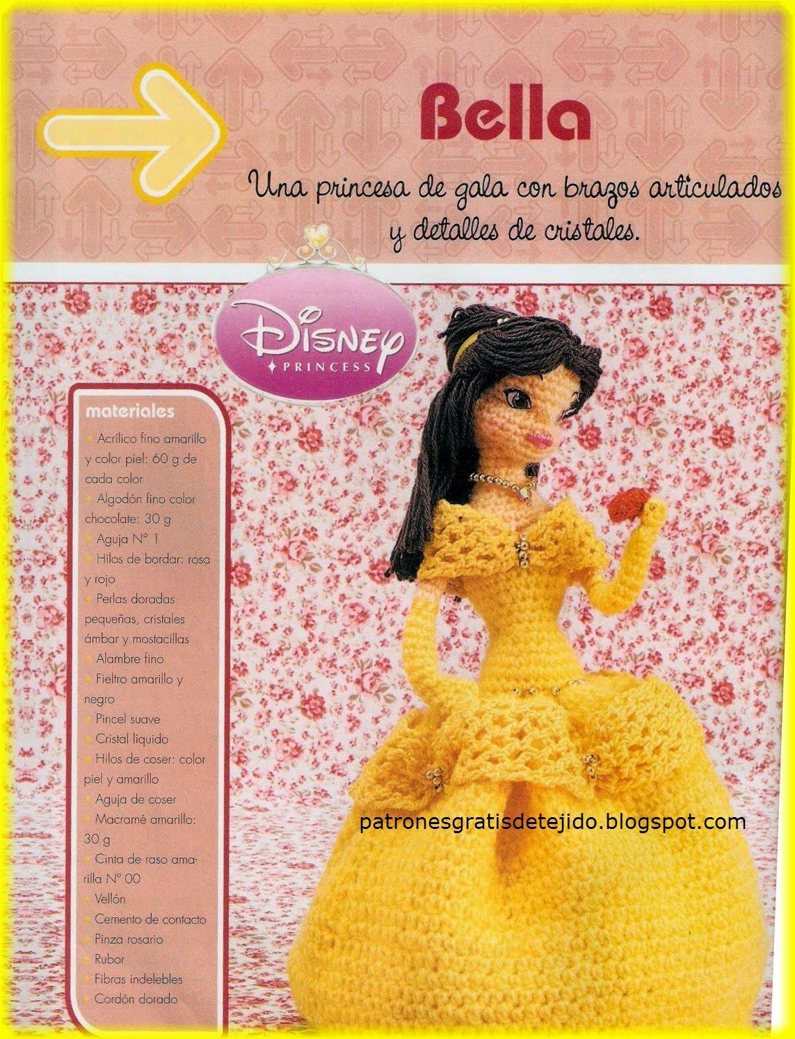 Amigurumi: La Princesa Bella de Disney al crochet | muñecas punto ...
