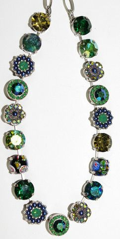 MARIANA NECKLACE EMERALD CITY: green, navy, taupe, a/b, murano stones – European Accent
