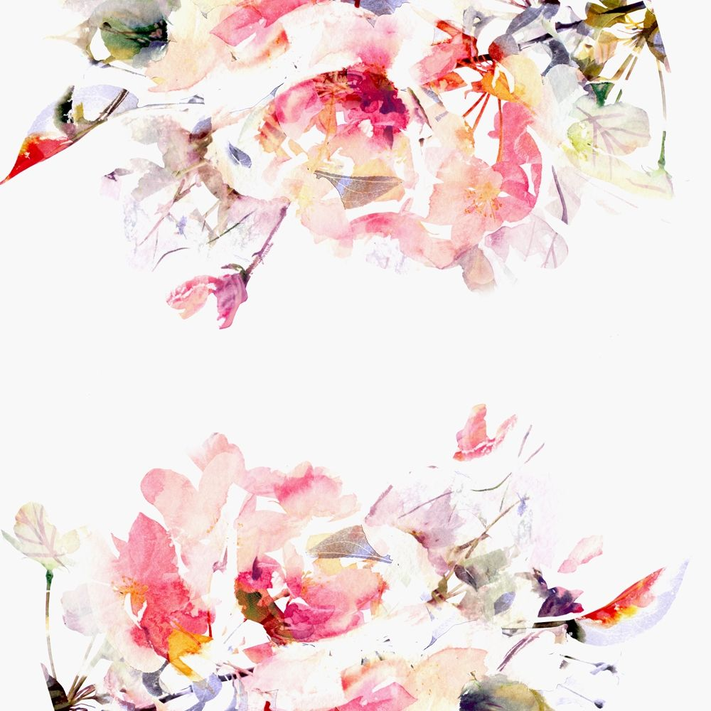 Spring Floral Mural Watercolor Wallpaper Floral Watercolor