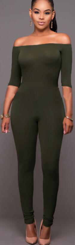 Off-Shoulder 1/2 Sleeve Pure Color Slim Long Jumpsuit
