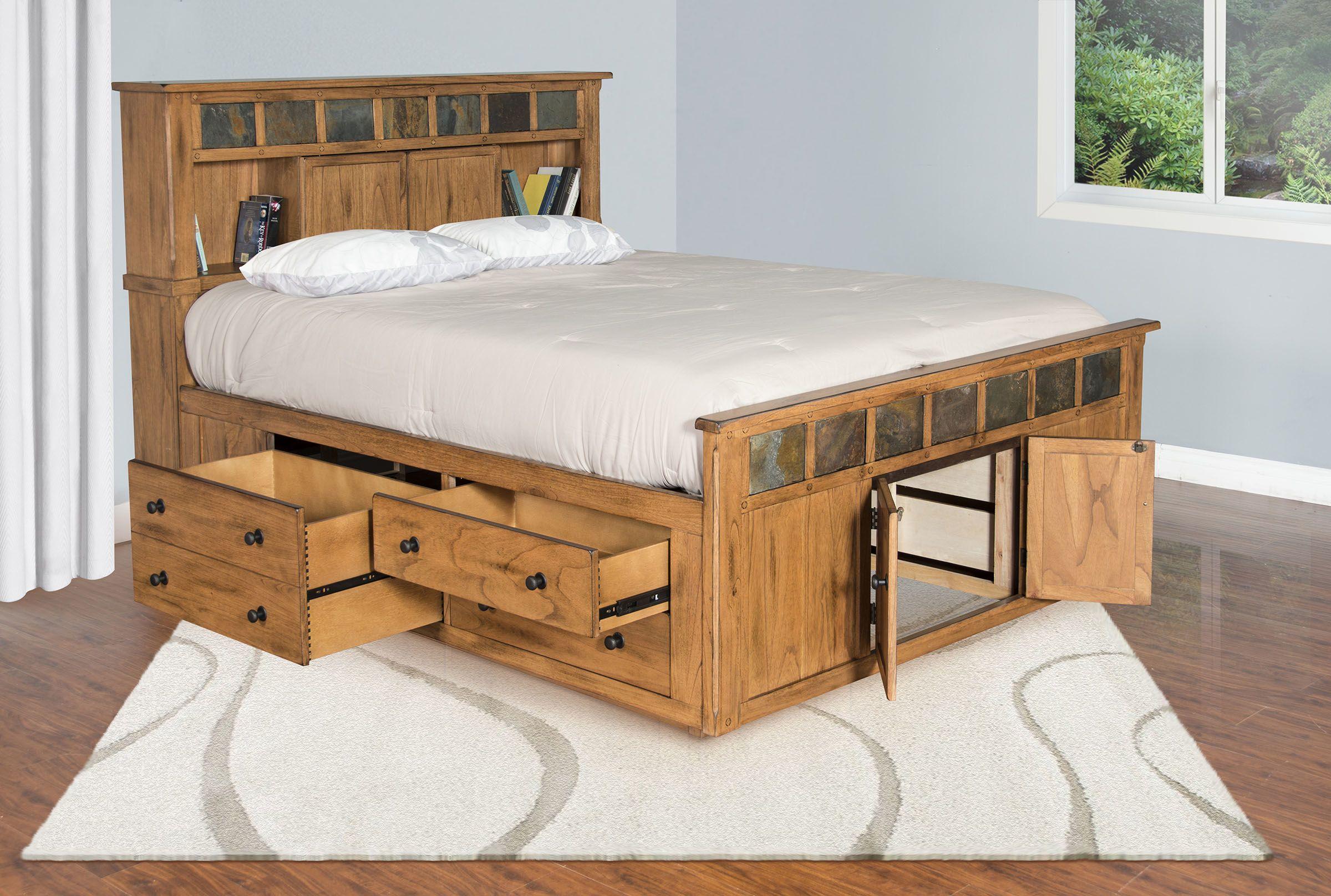 Eastern King Storage Bed in Mindi Wood, Brown in 2020